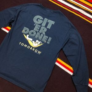 00s Big Dogs Git Er Done Country LS Tee Navy Sz L